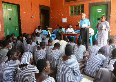 Outdoor service at womans prison in Kisumu, Uganda